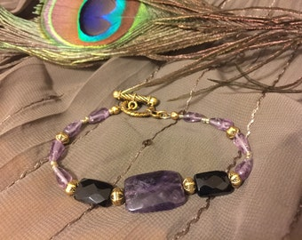Amethyst and Onyx Bracelet