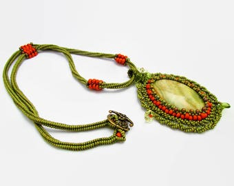 Bead Embroidery Necklace, Beadwork Necklace, Beaded Necklace, Gemstone Necklace, Ethical Jewellery, Green Necklace, Onyx Necklace, OOAK