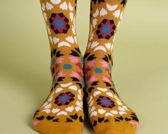 Men's colorful dress socks in mustard | Mediterranean tiles design
