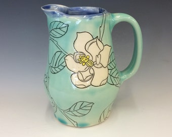 Handmade Pitcher with Magnolia Deco. In Aqua and Blue. MA228