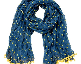 Navy & Yellow Pom Pom Scarf - Originally 15.00