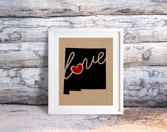 """New Mexico (NM) """"Love"""" or """"Home"""" Burlap or Canvas Paper State Silhouette Wall Art Print / Home Decor (Free Shipping)"""