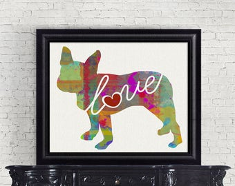 Boston Terrier Love - A Colorful Watercolor Style Gift for Dog Lovers - Home Decor Dog Breed Wall Art Print That Can be Customized With Name