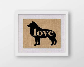 Schipperke Love - Burlap Wall Art Gift for Dog Lovers - Rustic Farmhouse Style Print - Personalize Silhouette w/ Name - More Breeds (101p)