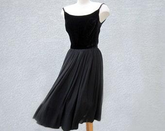 Ravishing 1950s Vintage Little Black Dress - Silk Chiffon Skirt, Silk Velvet Bodice, Jewelry Neckline, Special Occasion Party, New Years Eve