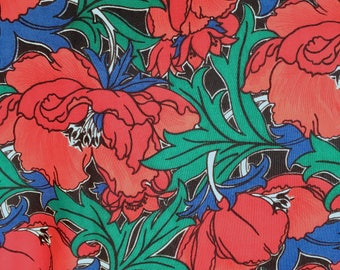 "Liberty of London Fine Wool Challis Print Material - 50 x 50"" cut length of Vintage Designer Dress or Scarf /Shawl Making Fabric"