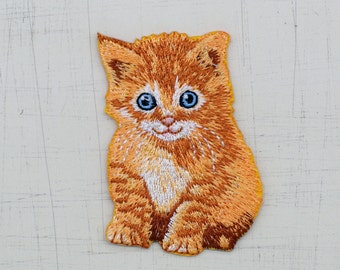 5 x 7 cm, Brown Little Cat Iron On Patch (P-453)