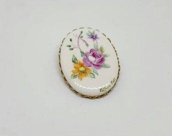 Vintage brooch Flower porcelain brooch flowers hand painted Singed Ester call.