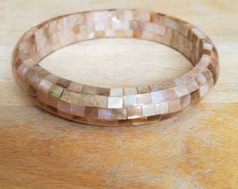 Vintage Plus Size Inlaid Brown Mother Of Pearl Shell Bangle Bracelet