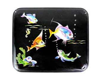RARE Rectangular Metal Tin Vintage black box or container with nice sea subject. French Vintage. 1950
