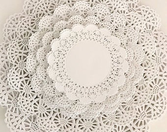 "4"" - 12"" Variety Pack 60 ct. Paper Lace Doilies 10 each - White Doily Assortment"
