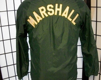 Vintage Marshall green snap button jacket by Collegiate Pacific adult large l