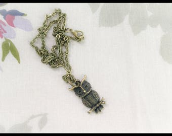Bronze Owl Necklace, 20inch Necklace, Owl Jewellery Fashion Jewellery Owl Charm Necklace Gift for women  /BNOWL