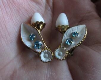 Vintage Milk & Blue Rhinestone Earrings Austria Bling