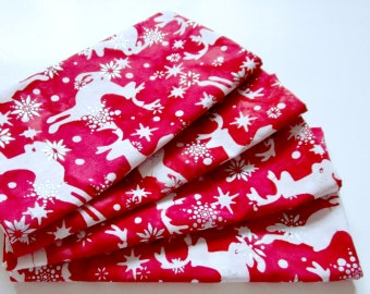Christmas Napkins - Set of 4 - Cloth Napkins - Batik Red White Silver Reindeer Snowflakes - Everyday, Dinner, Table