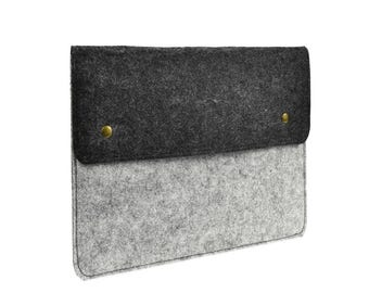 "Felt Environmental Light Gray Sleeve Bag / Carrying Case with Button Closure for Apple Macbook White/Pro/Air 13"" and Ultrabook"