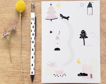 """Carte postale """"À pas de Loup"""" - Papeterie - Illustration - Peint / Loup - Woodland - Forêt - Hiver - Montagnes - Noël - Carte de voeux"""