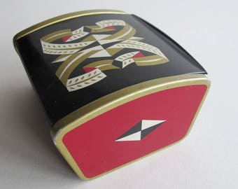 Festival of Britain souvenir cigarette box, 1951. Fabulous black and red metal box with Festival logo. Great jewelry box!