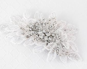 Bridal Hair Clip of White Chantilly Lace Like Leaves with Rhinestone Swirly Jewel Center in Silver Wedding Headpiece Accessory
