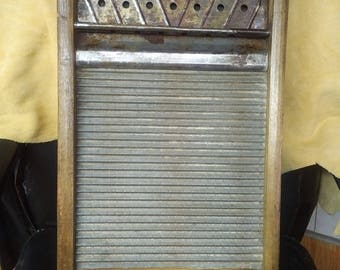 Rare Vintage antique  primitive Asco Brand wood and metal washboard