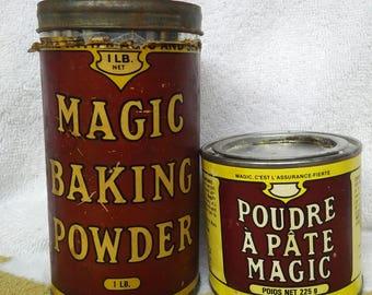 Magic Baking Powder 1lb tin and 225 g tin