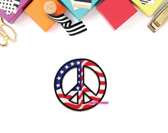 Peace Sign American Flag - Flag Of America U.S.A United States of America New Sew / Iron On Patch Embroidered Applique Size 7.8cm.x7.8cm.