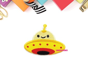 Yellow Color UFO Cute Cartoon New Sew / Iron On Patch Embroidered Applique Size 8cm.x5.8cm.