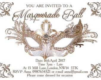 Downloadable/Printable Personalised Masquerade Carnival Party Invitation