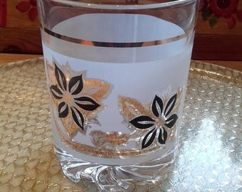 Vintage 50's 60's Frosted glass gold and black flower mini mid century Ice bucket
