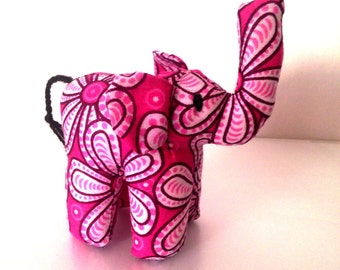 "Small Elephant #1213 made by Ugandan Disabled Women. 4"" height and 5"" wide"