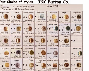 """50 Metal 1/2""""  Small  Buttons your choice 35 styles 12mm- Halloween Costumes School Plays Medieval Renaissance Faire Clothing WHOLESALE"""