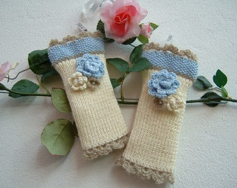 Ivory wool sleeves, blue and beige-knitted mittens with flower applications-tricot knitting fingerless gloves-wrist Warmers