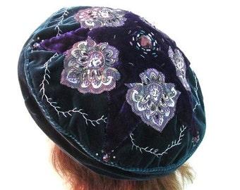 Purple Mandala Beret, Teal Mandala Tam, Applique, Beadwork, Vintage Rhinestone Beret, Velvet Renaissance Dress Hat, Forest Fairy Teal Hat