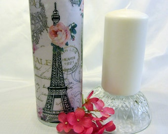 """A hand-made decoupage candle holder and 6"""" pillar candle - """"Paris"""" //holiday gifts//home decor//special occasions//gifts for her"""