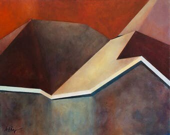 Abstraction of Rooftops in Reds
