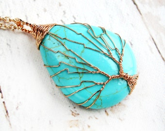 Wire Wrapped Jewelry-Wire Wrapped Tree-Tree of Life Necklace-Turquoise Pendant Necklace-Gift for Her-Gift for Mom-Turquoise Pendant Necklace