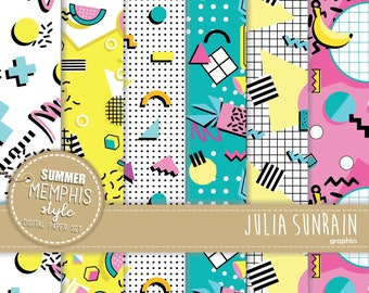 Memphis Summer Style - Digital Papaer set - Instant Download - Personal and Commercial Use