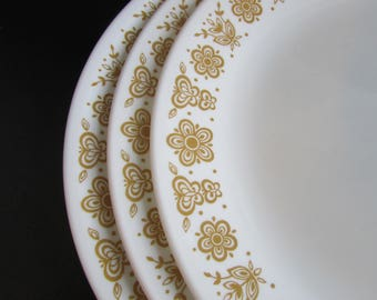 Butterfly Gold Corelle Corning 70's Retro Picnic Dinner Plate X 3