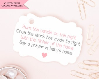 baby shower tags 30 burn this candle on the night baby shower