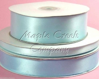 1/4 inch x 100 yards of Light Blue Double Face Satin Ribbon