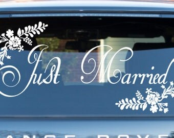 Wedding car decorations - Wedding Getaway Car Decal  - Just Married  - Floral Car decal *professional applicator included