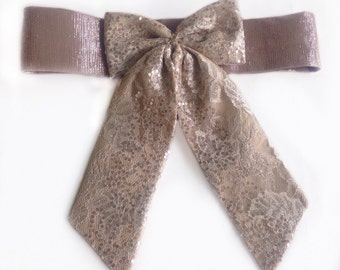 Tan Lace Sash for Flowergirl, Tan Bow Sash, Sparkly Bridal Bow Sash, Wedding Lace belt, Fancy Belt Bow, Light Brown Lace Small Wedding belt