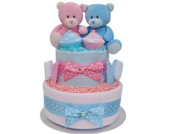 Gorgeous Twin Boy/Girl Baby Nappy Cake 2 Tier - FAST DELIVERY!