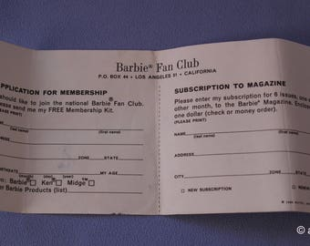 Original Vintage Barbie Fan Club Application