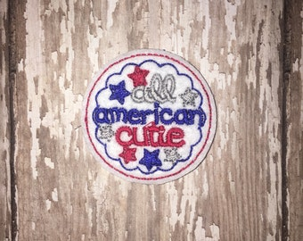 Set of 4 All American Cutie Felties Flag Patriotic 4th of July Memorial Veterans Military Feltie Embellishment Bow! Planner Clip Clips