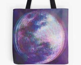 Moon Tote Bag, Moon Art, Dizzy Moon, Moon Bag.
