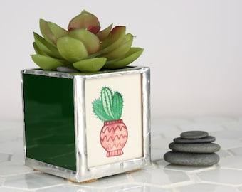 Glass Table Planter, Small Planter Succulent Container, Indoor Planter, Modern Plant Pot, Succulent Planter, Office Decoration, Tiny Pot