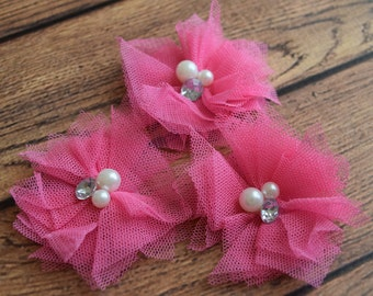 "Tulle Pearl and Rhinestone Flower, Hot Pink, Tulle  Flower, 2.5 "" , Hair Bow Supplies, Kids Headbands, DIY, Shabby Chic, Wholesale"