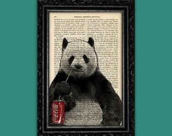 Panda Bear Coke Print Panda Poster Book Art Dorm Room Panda Print Gift Wall Decor Dictionary Print Animal Art (Animal Nº68)