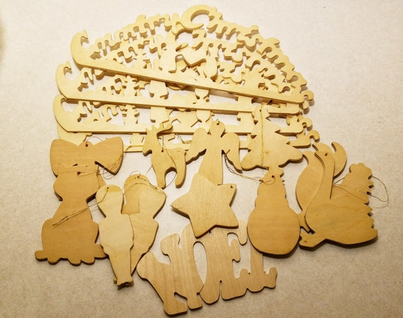 Lot Of Unfinished Craft Wood Cutouts Country Christmas